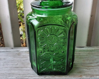 Green Glass Daisy  Canister