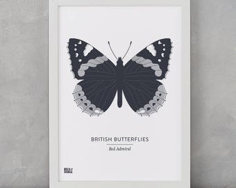 Butterfly Print, British Butterflies, Red Admiral Screen Print, Nature Wall Art, Butterfly Wall Art, Butterfly Decor, Butterfly Gifts