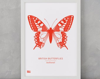 Butterfly Print, British Butterflies, Swallowtail Screen Print, Nature Wall Art, Butterfly Art, Butterfly Decor, Butterfly Gifts