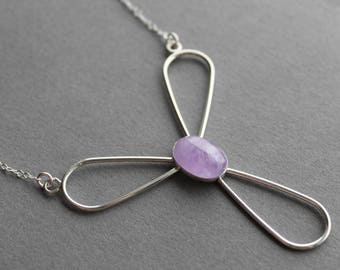 Amethyst Sterling silver necklace boho indie fashion accessories lavender - Trinity's Tears