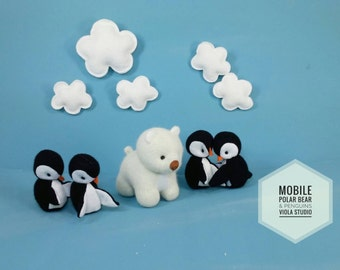 Polar Bear and Penguins Baby Mobile - Nursery, Modern, Decor, Mobile, Clouds, Animals, Bear, Penguin, Baby MADE TO ORDER