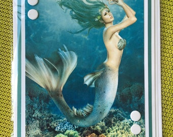 Blank Mermaid Card, Mermaid, Mermaids, Blank Card