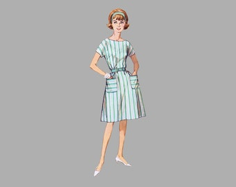 """1960s One-Piece Jiffy Dress pattern Simplicity 4977 """"Simple to Sew"""" Size medium Bust 34-36 Sleeveless/Kimono sleeves, Patch pockets complete"""
