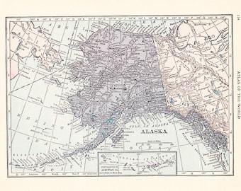 1926 Map Alaska - Vintage Antique Map Great for Framing