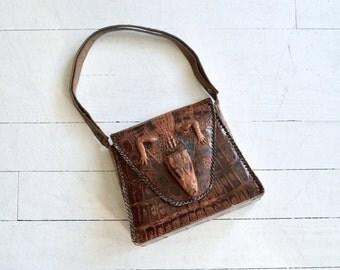 Muja alligator bag | vintage 40s alligator bag | 1940s baby alligator handbag