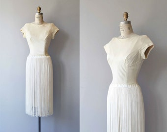 Shimmy Fringe dress | vintage 1950s dress | cream rayon 50s wiggle dress