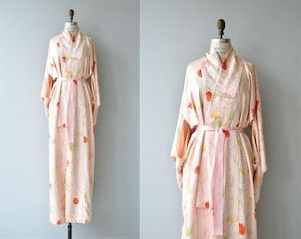 Irasuto silk kimono   vintage 1950s floral kimono   silk floral japanese kimono wrapper