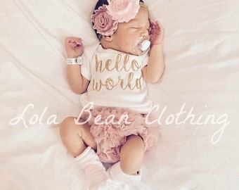 MAY PREORDER (Will ship week of 5/15/17) Baby Girl Take Home Outfit Newborn Hello World Bodysuit Bloomers Headband Set Dusty Rose Pink