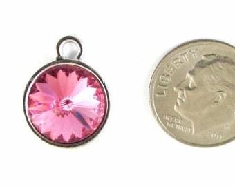 October Birthstone Charm-ROSE PINK Swarovski Rivoli Crystal 14x18mm (1)