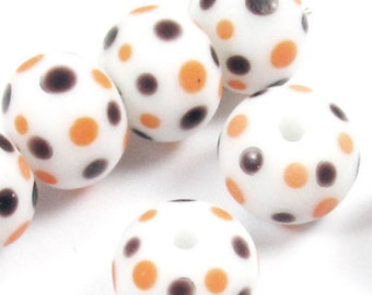 Glass Lampwork Round Beads-White + Brown & Orange Dots (10)
