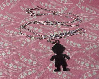 Vintage Elka Sterling 16 inch chain Necklace with Boy Silhouette Pendant