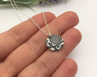 Silver Dandelion Flower Necklace Gift for Mom Grandma Sis Bestie