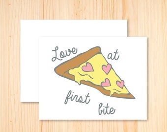 Pizza Card, Pizza Valentines Card, Funny Food Card, Pizza, Funny Pizza, I Love You Card, Foodie Card, Love at First Bite, Romantic Card