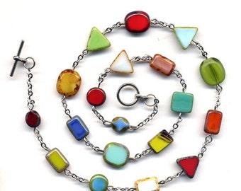 SALE Multi Color Necklace,  Multi Shaped  Beads. Color Necklace. Colorful  Necklace. Jewelry by AnnaArt72