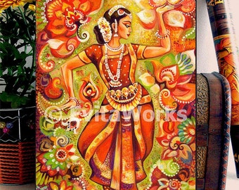 Indian classical dancer, ethnic painting, Bharatanatyam dance, Indian woman, home decor wall decor woman art, ACEO wood block, ABDH