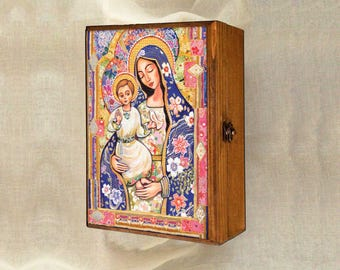 Madonna and child, Virgin Mary and Jesus painting, Panagia Eleousa, mother box, mother child, keepsake box, christian box, jewelry box, 7x10