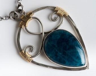Lakshmi Talisman Necklace w/ Teal Apatite in Oxidized Silver