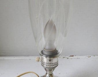 Vintage Etched Glass Accent Lamp with Sterling Base