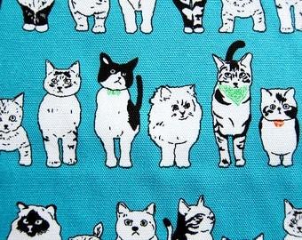 Cat Print Fabric - Animal Print Fabric - Lightweight Cotton Canvas - All Kinds of Cats - Half Yard