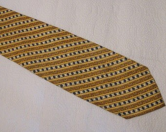 Vintage Men's Yves Saint Laurent All Silk Necktie - Gold, Yellow, Green, White Stripes