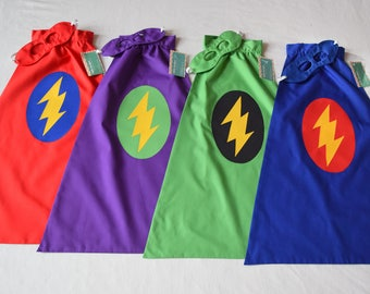 Super Hero Cape and Mask - Lightning Bolt - you choose the colors - Other design choices in shop.