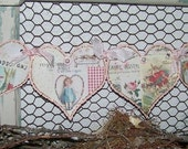 Valentines Day Banner Garland Heart Banner Garland Vintage Style Pink Valentine Collage