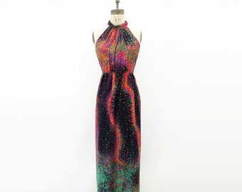 1970s Maxi Dress Ombre Maxi Dress Cosmic Neon Dress Black Pink Maxi 70s Maxi Dress Galaxy Print Dress Psychedelic Maxi Racer Back Dress m
