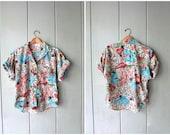 Vintage 80s Animal Print Shirt Button Up Safari Jungle Tshirt Short Sleeve Tee 1980s Resort LIONS TIGERS Shirt Womens Medium Large