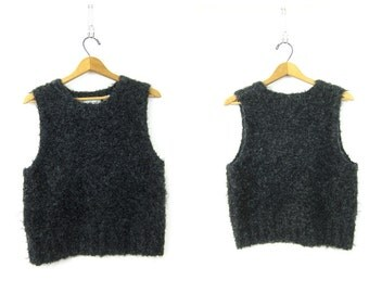 Super CHUNKY Knit Sweater Vest 1990s Fuzzy Knit Sweater Charcoal Gray Woolen Chunky Mohair Blend Sleeveless Sweater Womens Large