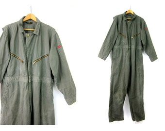 Vintage Overalls Big Smith Jumpsuit Army Green Farmer Coveralls one piece car Mechanics Workwear Work Pants Size 46