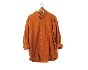 Boyfriend Shirt Rusty Pumpkin Orange Long Sleeve Button Up Oxford Shirt Slouchy Top 1990s Cotton Mix Shirt Unisex XL Extra Large