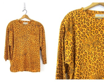 Retro 80s Tiger Print Tshirt Oversized Long Sleeve Shirt Animal Graphic Slouchy TEE Loose Fit Vintage Women's Size Small Medium