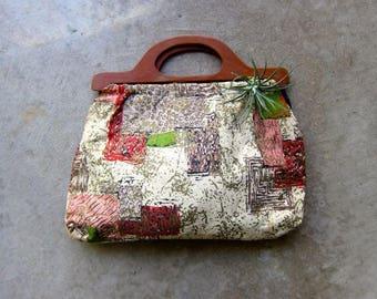 Vintage Wooden Handle Purse Top Handle Fabric Purse 70s Craft Clutch Bag 60s Tapestry Handbag Barkcloth Bag