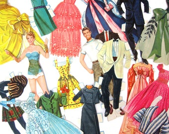 Marge & Gower Champion Paper Doll Set 1959 Mid Century Paperdolls Paper Ephemera Dresses GS Gowns Ballroom Dancing Art Collage Toy