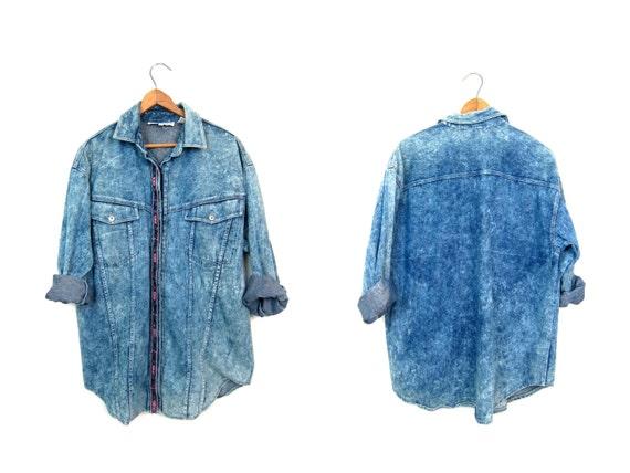 Vintage 80s Acid Wash Jean Shirt Slouchy Button Down Denim Shirt Southwestern Embroidered Printed Jean Shirt Hipster Punk Rock Medium Large