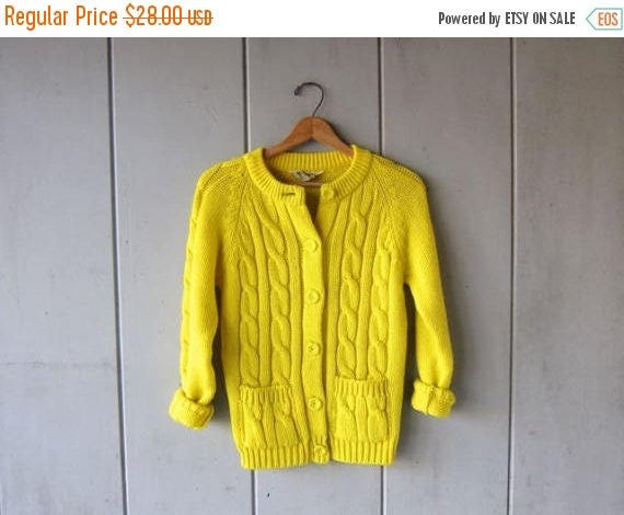 60s Yellow Cardigan Sweater Button Up Sweater with Pockets Cable Knit Sweater Retro Preppy Spring Knit Sweater Top Womens Small
