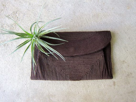 40s Cord Clutch Wallet Vintage Black Brown Woven Wallet Handbag Minimal Hand Woven Coil Wallet Simple Chic Modern 1940s Hand Purse