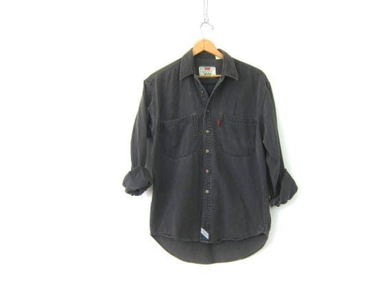 Black Levis Shirt Denim Shirt Faded Gray Black Jean Shirt Boyfriend Button Up Work Shirt Men's Size Medium Unisex COED Collar Shirt Pockets