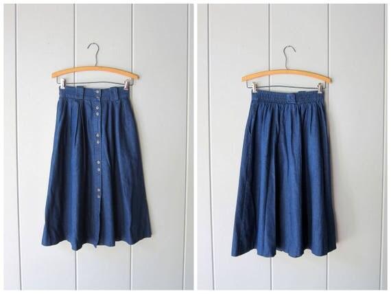 80s Jean Skirt Dark Blue Long Denim Midi Skirt Button Up Skirt Bohemian Cowgirl High Elastic Waist Cotton ALine Skirt Vintage XS Small