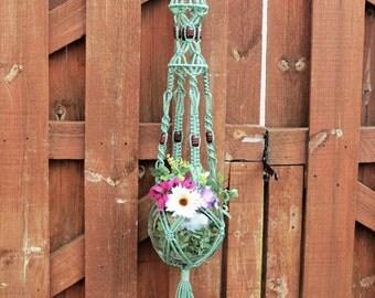 """Green Macrame Plant Hanger, Small Hanging Planter, Birdcage Plant Holder, SAGE GREEN, 3 foot plant hanger, 36"""" Modern hanging basket Gift"""