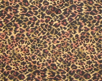 Jungle Fever Leopard Print Beige Black Brown - VIP Cranston Fabric Cotton YARDS