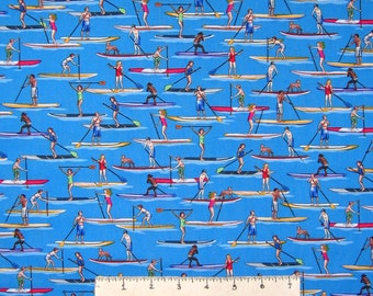 Sports Fabric - Paddle Board on Lake Blue C3917 - Timeless Treasures YARD