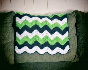 Seahawks Baby Blanket, Crochet Baby Blanket, Baby Blanket, Green, Navy And  White