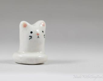 Little White Kitty - Terrarium Figurine - Miniature Tiny Ceramic Porcelain Cat Animal Sculpture - Hand Sculpted