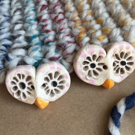 2 Pink Barn Owl Ceramic Buttons - Pink Buttons