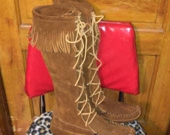 Vtg Minnetonka tall fringed leather moccasins men's size 13