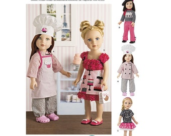 DOLL CLOTHES PATTERN / Make Baker - Chef Outfits / Fits American Girl - 18 inch Dolls / Grace / Cooking