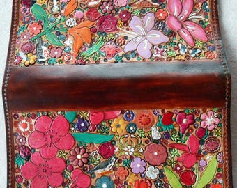 Leather Regular Check Book Cover with Flower Garden Design OOAK with Brown Border