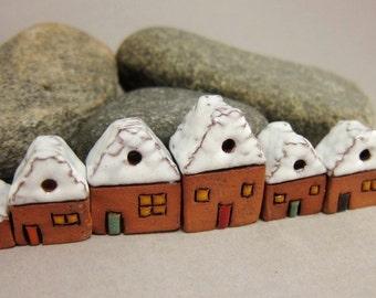 Sugar-coated Lucky Seven...Miniature Terracotta Houses from elukka