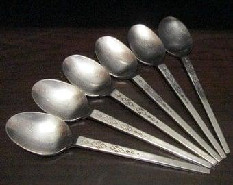 Vintage 18-8 Stainless Steel Japan Teaspoons Mod Diamond Pattern 6
